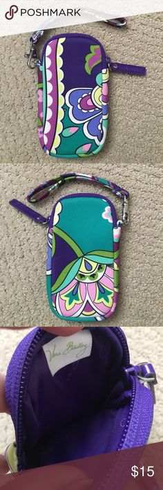 Vera Bradley Phone/Camera Case EUC. Neoprene material. I used this wristlet as a phone case, but it would also fit a digital camera. Only selling because I upgraded my phone to an iPhone 6S and it no longer fits - but fits a 5C or 5S perfectly! Vera Bradley Bags Clutches & Wristlets