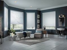 Furniture Design Ideas for Cozy Room Sensation: Luxurious White Window Shades By Alluring Window Idea To Decorate Dark Gray Painted Master B. Roll Down Shades, Retractable Shade, Solar Shades, Thing 1, Relaxation Room, Custom Window Treatments, Cozy Room, Master Bedroom Design, Window Coverings