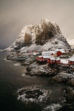 ~~Morning at Lofoten • winterscape with sepia tones, Norway • by Paul Haanpaa~~
