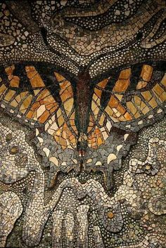 Butterfly Mosaic from the Tama zoo :: photo by Shimobros ~Inspiration for My Art~ Pebble Mosaic, Mosaic Art, Mosaic Glass, Mosaic Tiles, Stained Glass, Glass Art, Tiling, Mosaic Rocks, Mosaic Mirrors