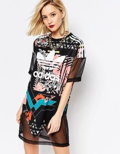 adidas Originals T-Shirt Dress With Trefoil Logo & Sheer Mixed Floral