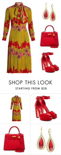 """""""Gucci Iris and Poppy print silk"""" by simpleelegance-558 ❤ liked on Polyvore featuring Gucci, Alexander McQueen, Hermès and Anne Klein"""