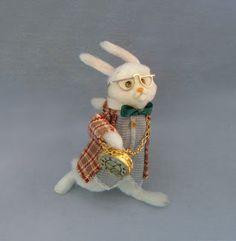 Good Sam Showcase of Miniatures: Vignettes     Alice in Wonderland, Lewis Carroll, White Rabbit, doll, plush, felt, fabric,