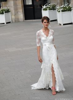 asymmetrical wedding dress with sleeves - Google Search