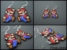 Handmade Seed Bead Mario Earrings by Pixelosis on deviantart
