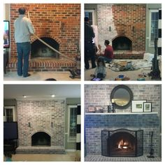 fireplace whitewashed.  $43 project and looks so much better.  Done in less than 3 hours.