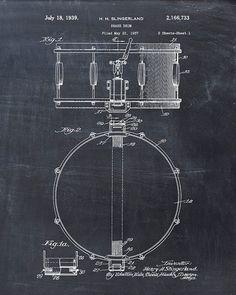 Patent Print of a Drum Patent Art Print Patent by VisualDesign, $6.95