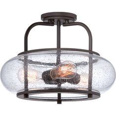 Features:  -Dimmer compatible: Yes.  -Product Type: Semi flush mount.  -Shade Included: Yes.  Finish: -Old bronze.  Shade Material: -Glass, Metal.  Bulb Type: -LED/Incandescent.  Bulb Included: -Yes.