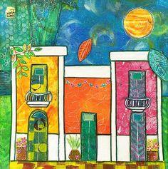 Print Old San Juan Happy Houses 8x8 by Elizabeth Claire