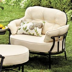 Amalfi Cuddle Chair (looks like the comfiest outdoor chair ever) Cuddle Chair, Iron Patio Furniture, Backyard Furniture, Pergola, Childrens Rocking Chairs, Patterned Armchair, Outdoor Dining Chair Cushions, Bedroom Chair, Furniture Covers