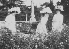 romanovdreams:    Olga, Tatiana and Anna Vyrubova in the garden, ca. 1909-1910.