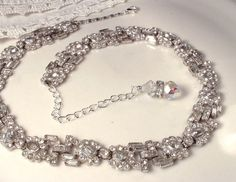 Gatsby Era 1920s Art Deco Clear Pave Rhinestone Encrusted Old Hollywood Glamour Bridal Link Necklace EXQUISITE True Vintage