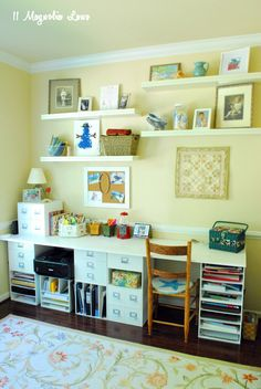 A Cute and Functional Craft Room...good ideas for a homeschool room too