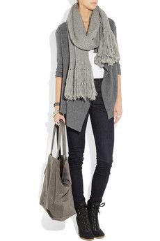 Love - 3/4 sleeves, big scarf and jeans and slouchy bag in blues and greys.