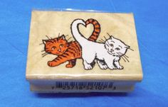 Inkadinkado love cats rubber stamp Wood mounted pets tails making a heart shape #Inkadinkado #CatsheartsKittens