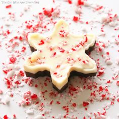Cookie Cutter Peppermint Bark -- leave the cookie cutter on for an extra gift. Use piping bags/squeeze bottles to fill.