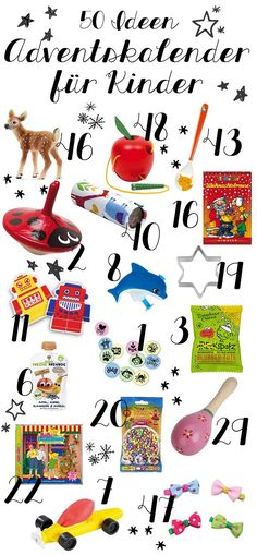 50 Ideen für die Adventskalender-Füllung für Kinder #adventskalender #kinderadventskalender #adventskalenderfüllen
