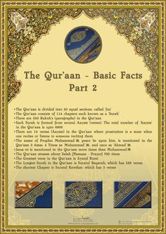 Qu'ran, basic facts part 2 -Islamic Poster-