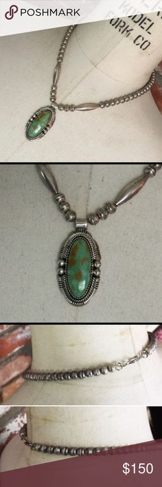 """Navajo Pawn Bench Beads Turquoise Pendant Necklace This one is absolutely gorgeous - The detail and design are truly perfect!  Not over the top, but perfect everyday way.  This beautiful vintage necklace is 17"""" long, sterling silver bench bead/pearls, two long cone beads and a beautiful hand-wrought old pawn Navajo silversmith sterling silver and turquoise pendant - Solid Pendant about 1-3/4"""" long - No markings. This has been tested and confirmed as sterling silver; there are two """"O"""" rings…"""