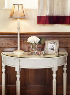 Narrow Tables for Hallway for Complete Living Room Ideas: Awesome Small Hallway Furniture With Vintage Table Lamp Shade On Rustic Tuvan Large Narrow Console Ideas ~ bbdesignsny.com Hallway Inspiration