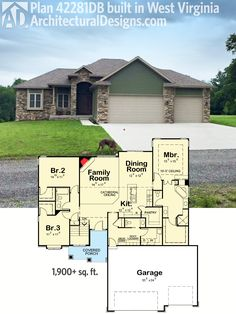 Architectural Designs 3 Bed House Plan 42281DB client-built in West Virginia. Ready when you are. Where do YOU want to build?