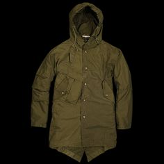 -Made in Japan. Individually made from repurposed military uniforms, this hooded jacket features a detachable liner jacket and one-of-a-kind detailing. Due to the nature of their construction, no two of these garments are exactly alike. -Shell: 50% cotton, 50% nylon. -Liner: 100% polyester with...