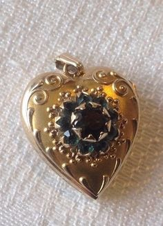 10k Solid gold Tested Heart Locket With Stones  | eBay