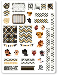 Lion Friends Decorating Kit / Weekly Spread Planner Stickers for Erin Condren Planner, Filofax, Plum Paper