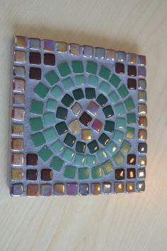 Mosaic Coasters Set of 4 4x4 Inch Square Handmade by gcbmosaics