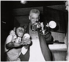 Unidentified photographer, [Weegee and chimpanzee], ca. 1950