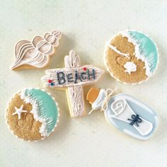 LOVE the message in a bottle and the shell! Summer Cookies, Fancy Cookies, Iced Cookies, Cut Out Cookies, Cute Cookies, Cupcake Cookies, Cupcakes, Fondant Cookies, Cookie Frosting