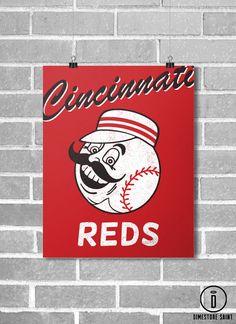 Cincinnati Reds Vintage Style Baseball Poster by DimestoreSaintDesign