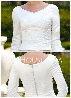 Vestidos princesa/ Formato A Decote redondo Cauda capela cetim Vestido de noiva com Bordado Bordado (002012641)