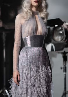 Inspired by the Old Hollywood with beading and ostrich feather tassels by Designer Evening Gowns, Designer Dresses, Evening Dresses, Prom Dresses, Dresses Near Me, The Dress, Long Mermaid Dress, Paolo Sebastian, Haute Couture Dresses