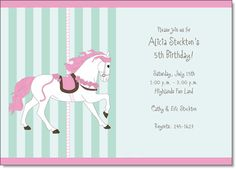 Carousel Horse Pink and Green Birthday Invitations by IB Designs - Invitation Box