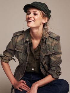 Free People Not Your Brother's Surplus Jacket, Lou Lou Military Button-down, Billie Jean Suede Lieutenant Hat and Mega Hoop Earrings