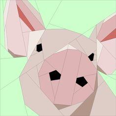 Little Pig paper-pieced / foundation-pieced free quilt block pattern