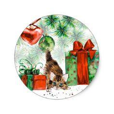 Watercolor Christmas - Kitten under tree Classic Round Sticker - craft supplies diy custom design supply special