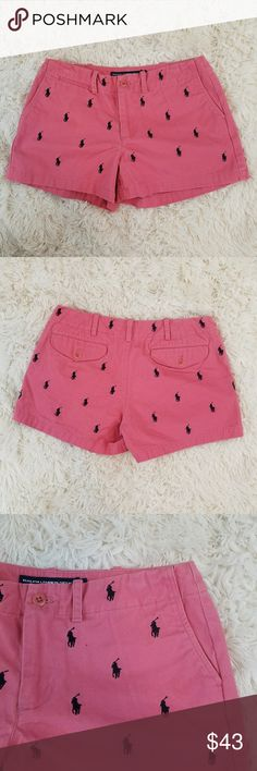 [ Ralph Lauren Sport ] Pink logo shorts Ralph Lauren Sport pink shorts with navy blue logo size 4 in NWOT condition Ralph Lauren Blue Label Shorts
