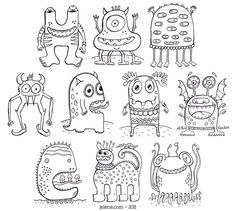 PDF Printable Crazy Monsters Coloring Book. via Etsy.
