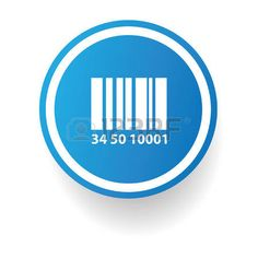 Símbolo de código de barras, el botón azul, vector