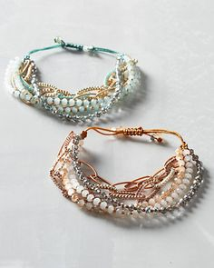 Sparkle therapy. This all-new, good-for-the-soul design from Chan Luu gives lots of tiny winks of light. Uplifting every day and perfect for festive affairs, the ultrafeminine design is handmade in the USA using cut crystals, seed beads, and nylon cord.