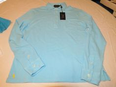 Polo Ralph Lauren Feather Weight Mesh polo shirt long sleeve Mens M French Turq #PoloRalphLauren #Polo