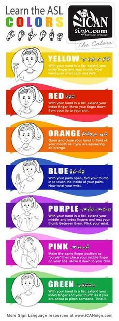ASL Colors Chart : Yellow, Red, Orange, Blue, Purple, Pink, Green #asl #signlanguage #signing