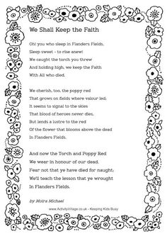 """▪️Remembrance Day poem: """"In Flander's Fields"""" written during the First World War by Canadian physician Lieutenant Colonel John McCrae▪️ Remembrance Day Poems, Remembrance Day Activities, Poppy Field Remembrance, Armistice Day, Flanders Field, Keep The Faith, Thinking Day, World War One, Veterans Day"""