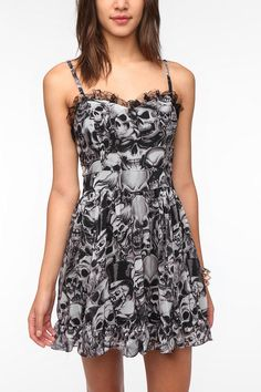 Tripp NYC Chiffon Smoke Skull Dress