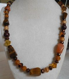 GORGEOUS IRON TIGERS EYE RED AVENTURINE AND CRYSTAL NECKLACE 25 '' INCHES #Handmade #Beaded
