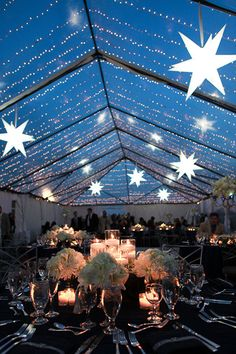 Stars from the ceiling wedding reception decor.