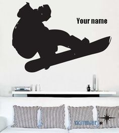 BIG Snowboard Extreme Sports player name----Removable Graphic Art wall decals stickers home decor