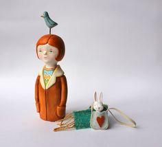 Art doll OOAK figurine Girl bunny and bird by sweetbestiary